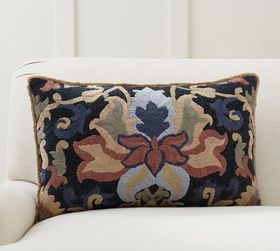 Pottery Barn Rory Embroidered Lumbar Pillow Cover
