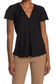 Theory Button Front Flutter Sleeve Top