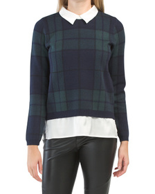 TAHARI Double Knit Plaid Twofer Sweater