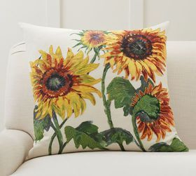Pottery Barn Painted Sunflower Pillow Cover