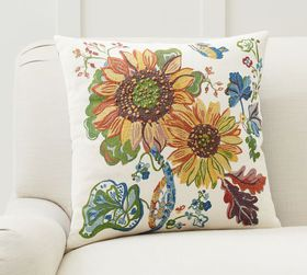 Pottery Barn Bright Sunflower Embroidered Pillow C
