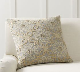 Pottery Barn Sawyer Medallion Embroidered Pillow C