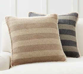 Pottery Barn Mason Reversible Solid Striped Pillow