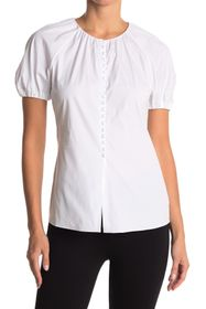 Theory Puffed Sleeve Button Front Blouse