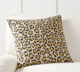 Pottery Barn Cheetah Crewel Pillow Cover