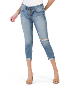 Juniors Destructed Hem Vintage Reunion Jeans