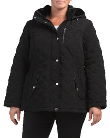 Plus Quilted Jacket With Detachable Hood