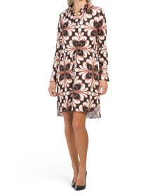 Long Sleeve Printed Drawstring Jersey Dress