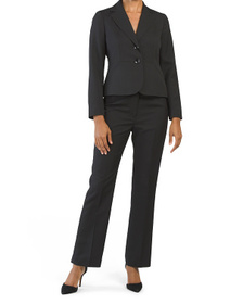 Petite 2 Button Notch Collar Pantsuit