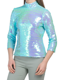 Paillettes Mock Neck Top