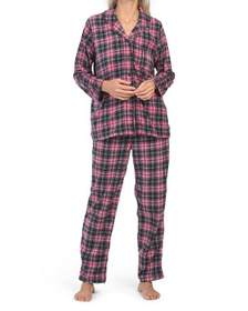 Micro Fleece Plaid Notch Pajama Set