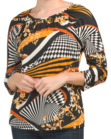 Three-quarter Sleeve Printed Top