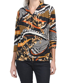 Printed Faux Wrap Top