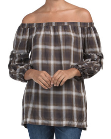 Off The Shoulder Plaid Top