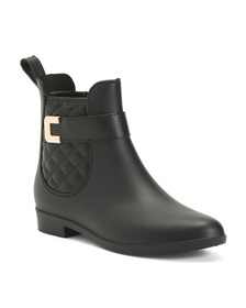 Quilted Buckle Double Gore Rain Booties