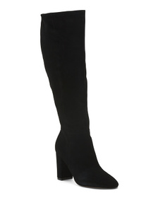 Tall Shaft Block Heel Suede Boots
