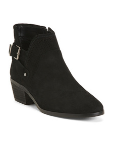 Suede Low Heel Buckle Booties