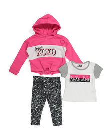 XOXO Toddler Girls 3pc Tie Front Hoodie & Leggings