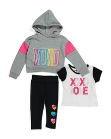 XOXO Little Girls 3pc Rainbow Fleece Hoodie & Legg