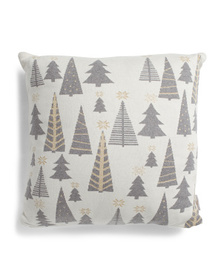 HANDCRAFTED IN INDIA 20x20 Lurex Trees Knit Pillow