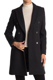 Theory Peak Lapel Double Breasted Wool Coat