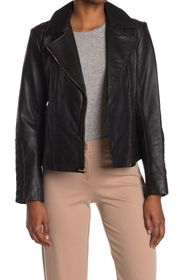 Cole Haan Leather Quilt Trim Moto Jacket
