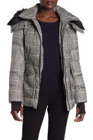 French Connection Plaid Faux Fur Trimmed Quilted J