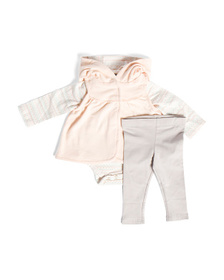 Infant Girl Vest And Bodysuit Legging Set