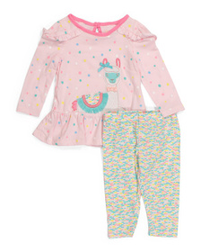 Newborn Girls 2pc Top And Leggings Set