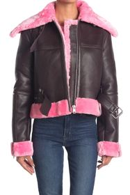 Walter Baker Mandie Faux Fur Lamb Leather Jacket