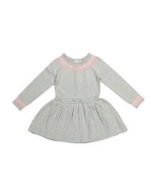Little Girls Textured Sweater Dress