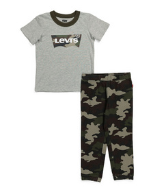 Little Boys Camo Batwing Tee And Jogger Set