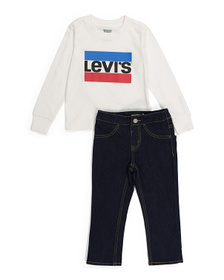 Little Boys Long Sleeve Tee And Denim Pants Set