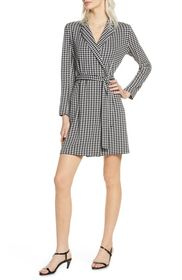 French Connection Sadira Houndstooth Print Wrap Dr