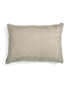 14x20 Linen Blend Crystal Beaded Pillow