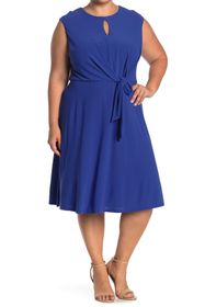 London Times Keyhole Tie Waist Fit & Flare Midi Dr