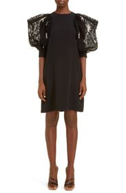Givenchy Embellished Sleeve Crepe Dress