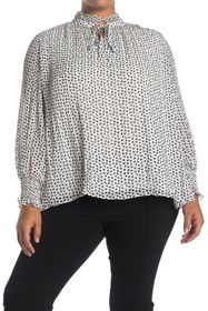 Max Studio Pleated Polka Dot Blouse