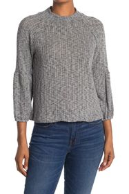 WHITE WILLOW Mock Neck Textured Sweater