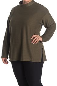 Max Studio Mock Neck Button Shoulder Top