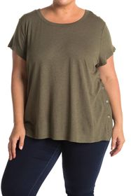 H By Bordeaux Button Trim Scoop Neck T-Shirt
