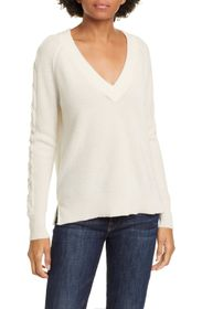 Kinross Cable Sleeve V-Neck Cashmere Sweater