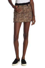 alice + olivia Good High Rise Leopard Print Mini S