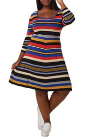 Maree Pour Toi Striped 3/4 Sleeve Fit & Flare Dres