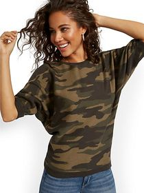 Camouflage Easy Dolman Sweater - New York & Compan