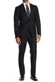 Calvin Klein Solid Black Wool Two Button Notch Lap