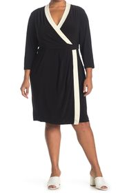 Anne Klein Colorblock City Wrap Dress