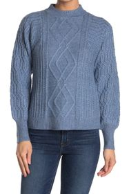 Design History Mock Neck Cable Knit Sweater