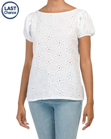 CIVICO 51 Made In Italy Puff Sleeve Eyelet Top