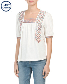 SOLITAIRE Short Sleeve Square Neck Embroidered Top